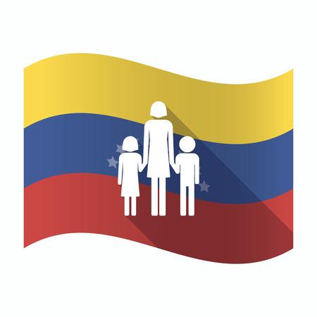 Illustration of an isolated Venezuela waving flag with a female single parent family pictogram Illustration
