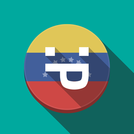 Illustration of a long shadow Venezuela rounded button with a sticking out tongue text face