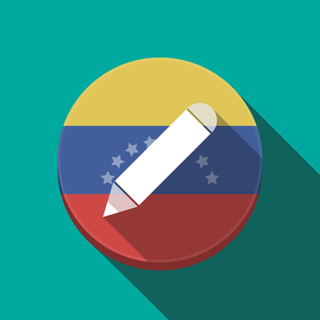 Illustration of a long shadow Venezuela rounded button with a pencil Illustration