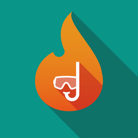 Illustration of a long shadow flame with a diving goggles Иллюстрация