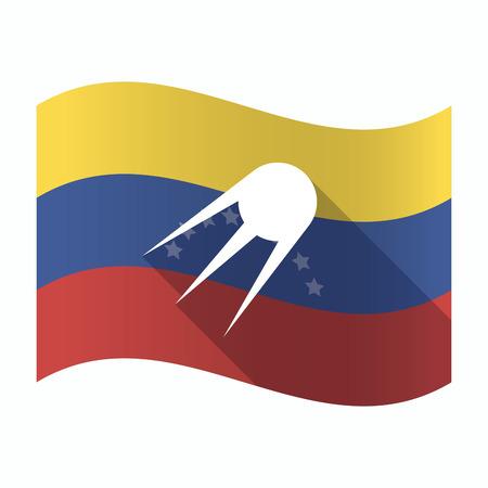 bandera de venezuela: Ilustración de una bandera aislada de Venezuela ondeando con un satélite vintage Vectores