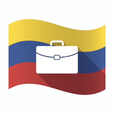 Illustration of an isolated Venezuela waving flag with  a briefcase
