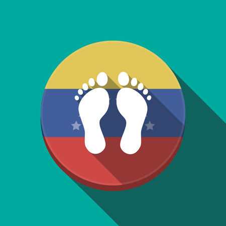 Illustration of a long shadow Venezuela rounded button with two footprints