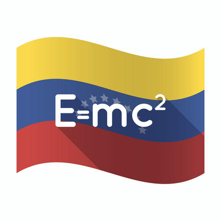 Illustration of an isolated Venezuela waving flag with the Theory of Relativity formula
