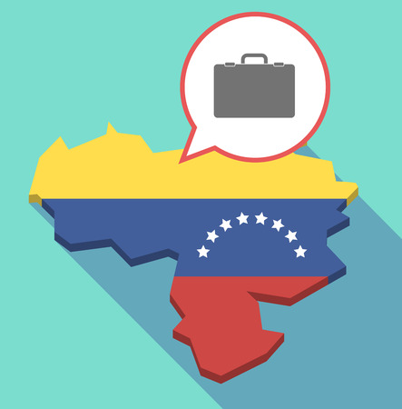 map case: Illustration of a long shadow Venezuela map, its flag and a comic balloon with  a briefcase