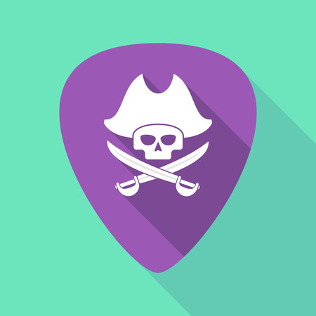 Illustration of a long shadow guitar pick with a pirate skull