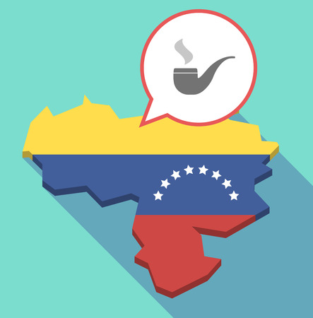 Illustration of a long shadow Venezuela map, its flag and a comic balloon with a smoking pipe