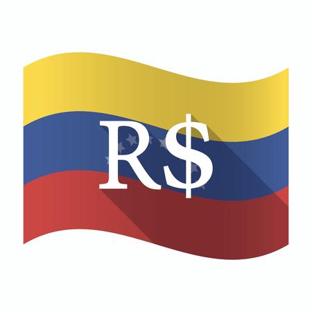Ilustración de una bandera aislada de Venezuela ondeando con un signo de moneda real brasileña Foto de archivo - 84196817