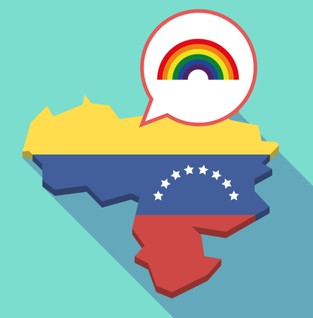 Illustration of a long shadow Venezuela map, its flag and a comic balloon with a rainbow
