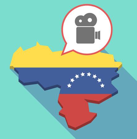 bandera de venezuela: Ilustración de una sombra de largo mapa de Venezuela, su bandera y un globo comic con una cámara de cine Vectores