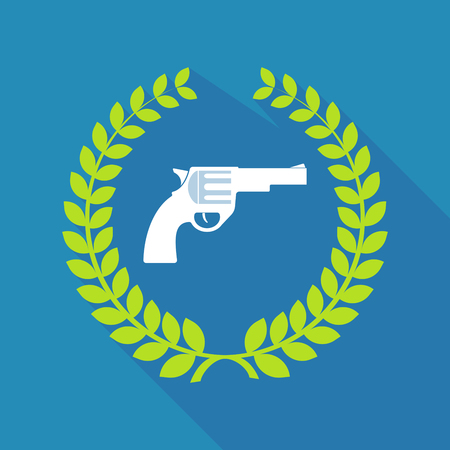 Illustration of a long shadow laurel wreath with a gun