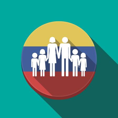 Ilustración de una larga sombra Venezuela redondeó el botón con un gran pictograma familiar Vectores