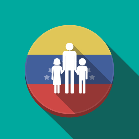 Illustration of a long shadow Venezuela rounded button with a male single parent family pictogram