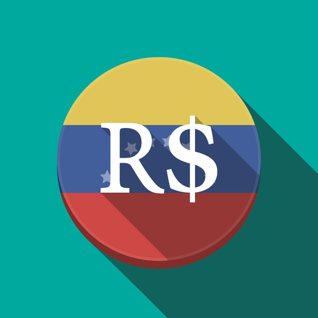 Illustration of a long shadow Venezuela rounded button with a brazillian real currency sign