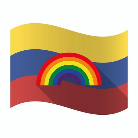 Ilustración de una bandera aislada de Venezuela ondeando con un arco iris
