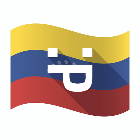 Illustration of an isolated Venezuela waving flag with a sticking out tongue text face