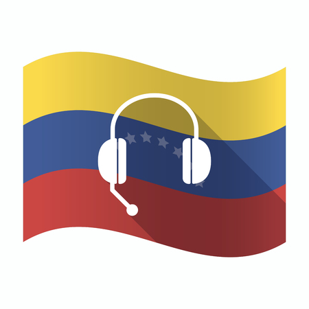 Illustration of an isolated Venezuela waving flag with  a hands free phone device