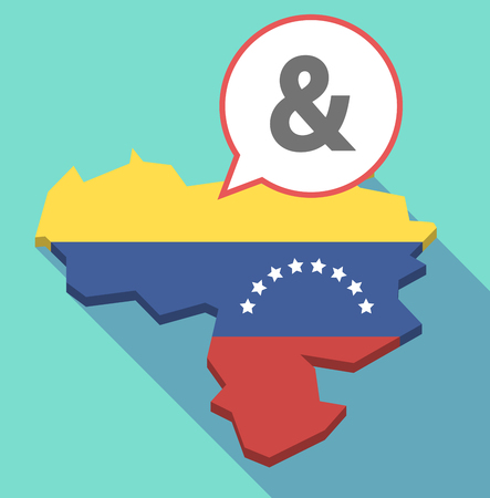 Illustration of a long shadow Venezuela map, its flag and a comic balloon with an ampersand