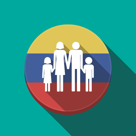 Illustration of a long shadow Venezuela rounded button with a conventional family pictogram