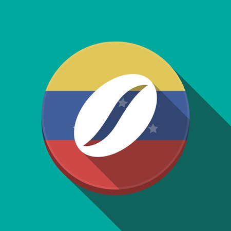 Illustration of a long shadow Venezuela rounded button with a coffee bean