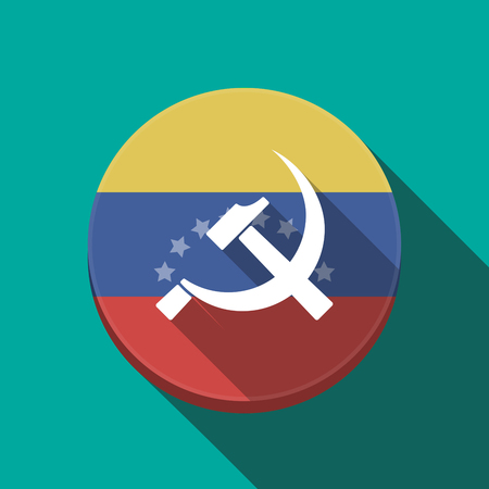 Illustration of a long shadow Venezuela rounded button with  the communist symbol Illustration
