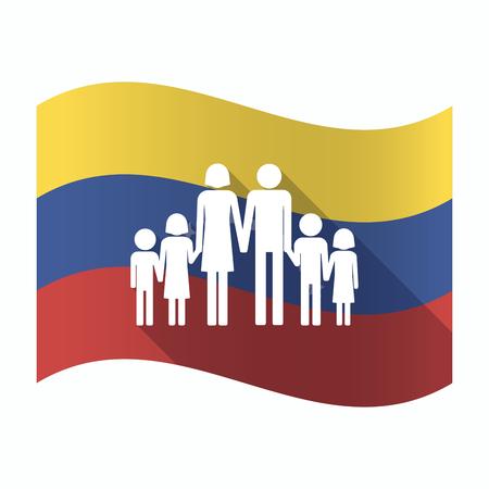 bandera de venezuela: Illustration of an isolated Venezuela waving flag with a large family  pictogram Vectores