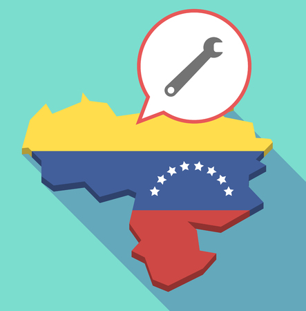 Illustration of a long shadow Venezuela map, its flag and a comic balloon with a spanner