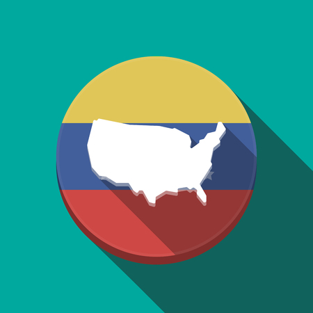 Illustration of a long shadow Venezuela rounded button with  a map of the USA