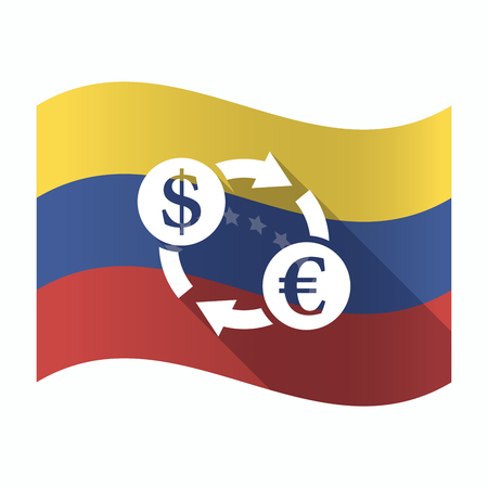 Illustration of an isolated Venezuela waving flag with a dollar euro exchange sign Illustration