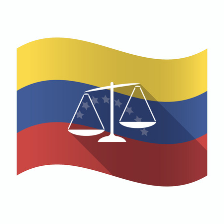 scale of justice: Illustration of an isolated Venezuela waving flag with  an unbalanced weight scale Illustration