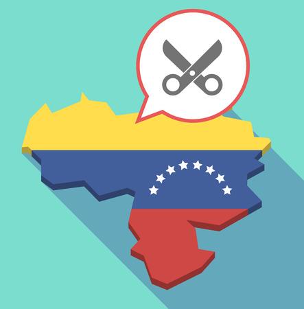Ilustración de una larga sombra Mapa de Venezuela, su bandera y un globo de cómic con unas tijeras