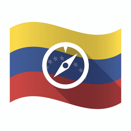 Illustration of an isolated Venezuela waving flag with a compass