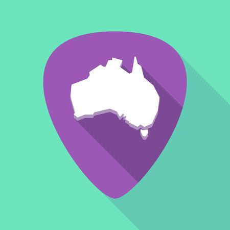 Illustration eines langen Schattenpickets mit einer Karte von Australien Standard-Bild - 84198299
