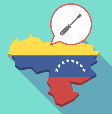 Illustration of a long shadow Venezuela map, its flag and a comic balloon with a screwdriver