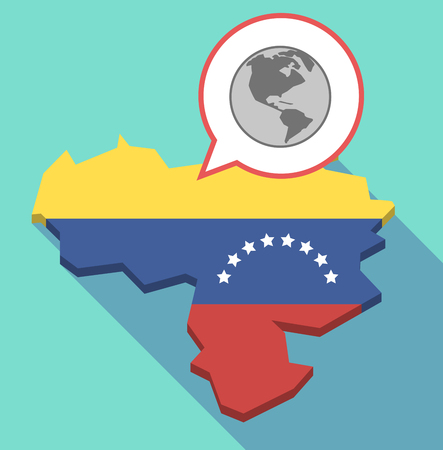 venezuelan flag: Illustration of a long shadow Venezuela map, its flag and a comic balloon with an America region world globe