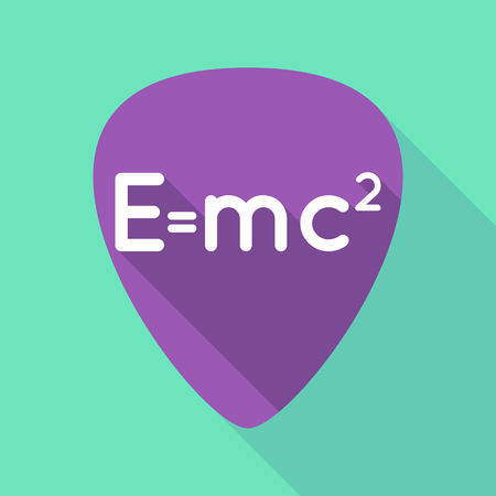 Illustration of a long shadow guitar pick with the Theory of Relativity formula