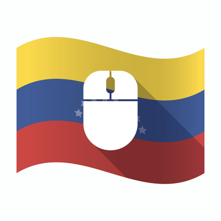 Illustration of an isolated Venezuela waving flag with a wireless mouse