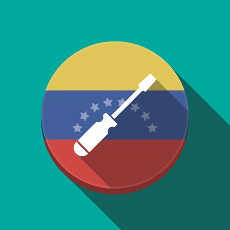 Ilustración de una larga sombra Venezuela botón redondeado con un destornillador