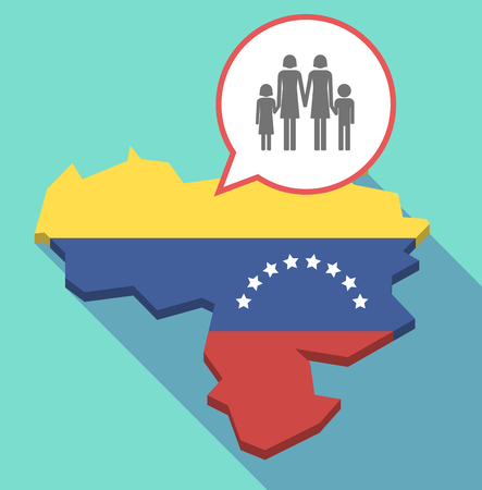 Illustration of a long shadow Venezuela map, its flag and a comic balloon with a lesbian parents family pictogram