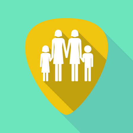 Illustration of a long shadow guitar pick with a lesbian parents family pictogram Illustration