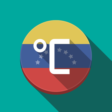 Illustration of a long shadow Venezuela rounded button with  a celsius degree sign Illustration