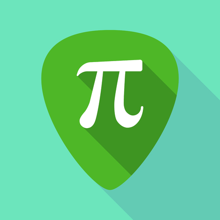 Illustration of a long shadow guitar pick with the number pi symbol Illustration