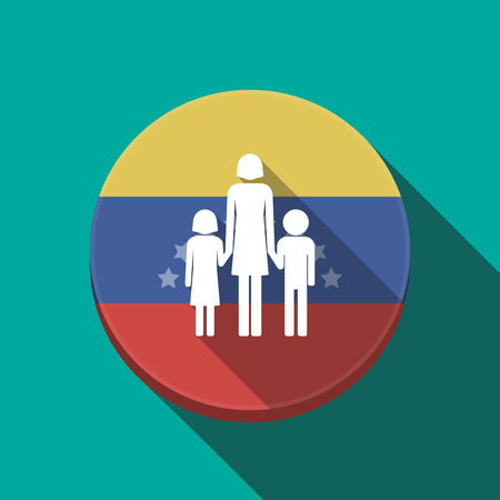 Illustration of a long shadow Venezuela rounded button with a female single parent family pictogram