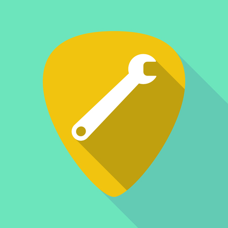 solo: Illustration of a long shadow guitar pick with a spanner Illustration