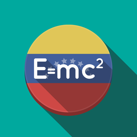 Illustration of a long shadow Venezuela rounded button with the Theory of Relativity formula