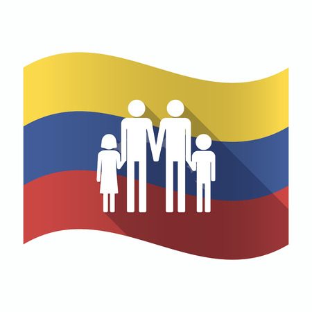 Illustration of an isolated Venezuela waving flag with a gay parents  family pictogram