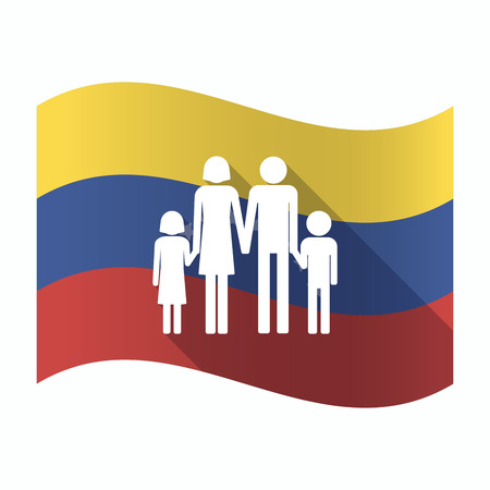 Illustration of an isolated Venezuela waving flag with a conventional family pictogram