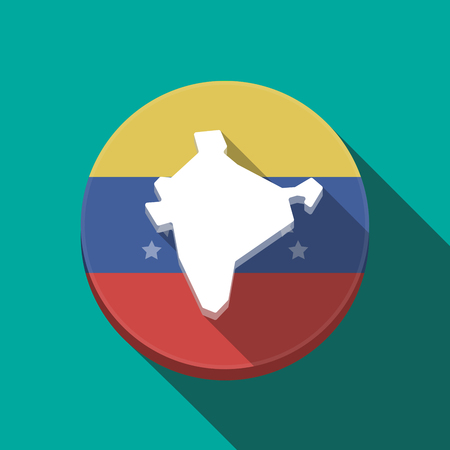 Illustration of a long shadow Venezuela rounded button with  a map of India Illustration
