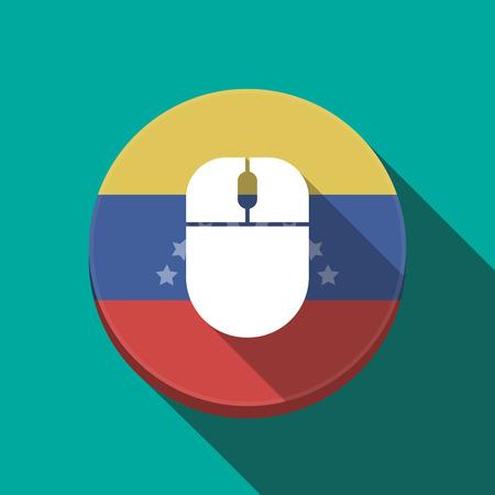 bandera de venezuela: Illustration of a long shadow Venezuela rounded button with a wireless mouse