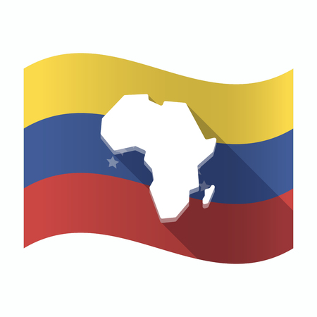 Illustration of an isolated Venezuela waving flag with  a map of the african continent